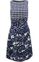 Oscar de la Renta Jewel Neckline Dress with Belt - Lyst