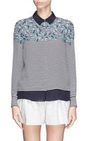 Tory Burch Pamela Nautical Stripe Flower Print Silk Shirt - Lyst