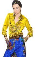 Etro Floral Printed Silk Satin Shirt - Lyst