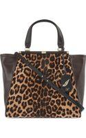 Diane Von Furstenberg Leopard Leather Tote Leopardmahogany - Lyst
