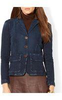 Ralph Lauren Lauren Leather Collar Denim Jacket - Lyst