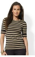 Lauren by Ralph Lauren Buttonedshoulder Striped Cotton Crewneck - Lyst