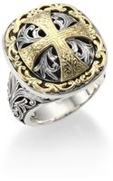 Konstantino Classic Daphne 18k Yellow Gold  Sterling Silver Filigree Cross Ring - Lyst