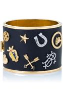 Tory Burch Dellora Charm Leather Cuff - Lyst