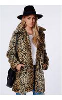 Missguided Kylie Fur Leopard Coat Brown - Lyst