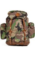 Ralph Lauren Blue Label Camo Print Backpack with Leather Trim - Lyst