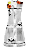 Thom Browne Rocco Dress in Intarsia Plaid and Flower Sheered Mink - Lyst