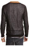 Diesel Plutone Black Vneck Sweater - Lyst