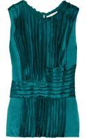 Oscar De La Renta For The Outnet Pleated Silk-charmeuse Blouse - Lyst