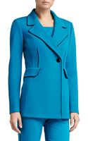 St. John Double Milano Knit Double Breasted Blazer with Silk Contrast Piping - Lyst
