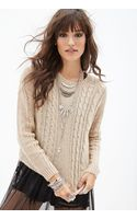 Forever 21 Boxy Cable Knit Sweater - Lyst