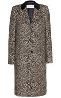 Saint Laurent Leopardprint Wool Coat - Lyst