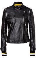 DKNY Leather Biker Jacket - Lyst