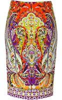 Etro Stretch Cotton Paisley Print Pencil Skirt - Lyst