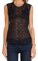 7 For All Mankind Lace Shell W Leather Trim - Lyst