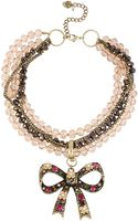 Betsey Johnson Cherry Bead Torsade Necklace with Crystallized Bow Pendant - Lyst