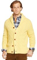 Polo Ralph Lauren Cable-knit Wool Shawl Cardigan - Lyst