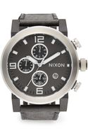 Nixon Stainless Steel Suede Strap Chronograph Watch - Lyst