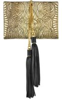 Roberto Cavalli Lion Gold and Black Quilted Metallic Python Small Clutch - Lyst