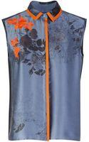 Preen By Thornton Bregazzi Printed Silk Satin Embroidered Wyman Shirt - Lyst