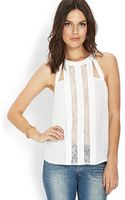 Forever 21 Pleated and Lace Cutout Top - Lyst