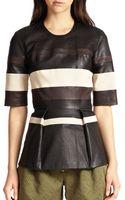 3.1 Phillip Lim Striped Leather Peplum Top - Lyst