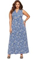 Vince Camuto Plus Size Printed Ruched Sleeveless Maxi Dress - Lyst
