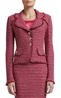 Soca Heathered Dash Tweed Knit Jacket with Pocket Flaps and Fringe - Lyst