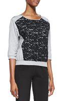 Nina Ricci 34sleeve Lacefront Sweatshirt - Lyst