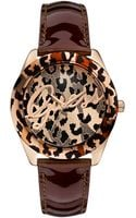 Guess Womens Burgundy Leather Strap Watch 40mm - Lyst