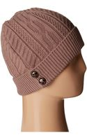 Scala Cabel Knit Cap with Cuff and Buttons - Lyst