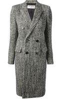 Saint Laurent Double Breasted Tweed Coat - Lyst