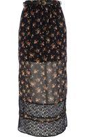 River Island Black Floral Print Lace Stripe Maxi Skirt - Lyst