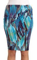 Josie Natori Printed Draped Skirt - Lyst