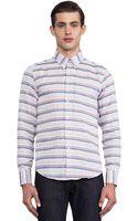 Naked & Famous Regular Shirt Gauze Stripes Dots - Lyst
