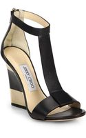 Jimmy Choo Leather T-strap Platform Wedge Sandals - Lyst