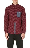 Armani Jeans Eagleprint Chambraydetail Shirt Red - Lyst