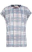 River Island Purple Burnout Check Print Oversized Tshirt - Lyst