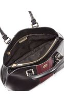 Tory Burch Robinson Stripe Opentop Dome Satchel Bag Black - Lyst