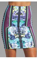Clover Canyon Graphic Flowers Neoprene Skirt - Lyst