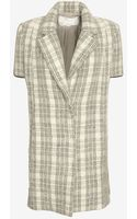 Yigal Azrouel Sweater Sleeve Plaid Coat - Lyst