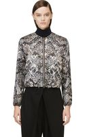 Giambattista Valli Grey and Brown Snake Print Embossed Bomber Jacket - Lyst