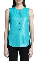Lafayette 148 New York Leather Curved Hem Top - Lyst
