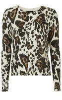 Topshop Leopard Knit Sweater - Lyst