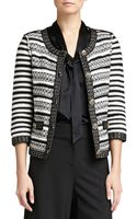 St. John Stripe Knit 34-sleeve Jacket - Lyst
