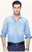 Ralph Lauren Black Label Chambray Western Shirt - Lyst