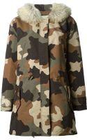 Michael by Michael Kors Trim Hood Camouflage Print Parka - Lyst