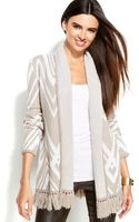 Inc International Concepts Printed Fringed Open-front Cardigan - Lyst