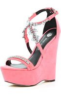 River Island Bright Pink Embellished Wedge Sandals - Lyst