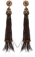 Oscar de la Renta Feather Beaded and Crystal Clip Earrings in Black - Lyst